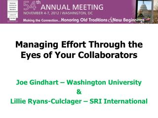 Managing Effort Through the Eyes of Your Collaborators
