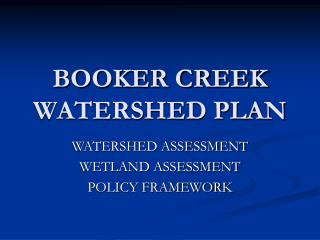 BOOKER CREEK WATERSHED PLAN