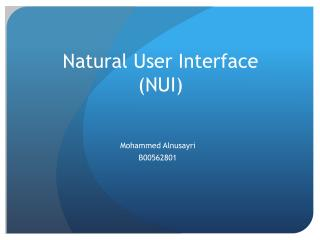 Natural User Interface (NUI)