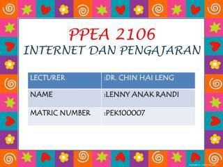 PPEA 2106 INTERNET DAN PENGAJARAN