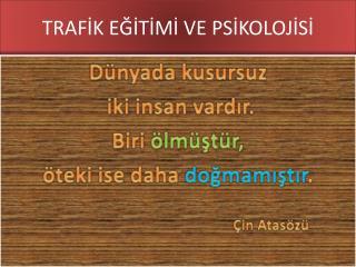 TRAFİK EĞİTİMİ VE PSİKOLOJİSİ