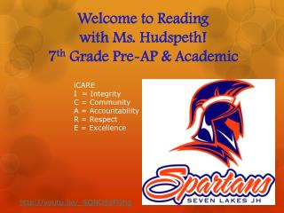 Welcome to  Reading with Ms. Hudspeth! 7 th  Grade Pre-AP & Academic