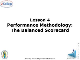 Lesson 4 Performance Methodology: The Balanced Scorecard