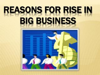 Reasons  for Rise in Big Business
