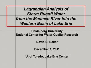 Lagrangian  Analysis of  Storm Runoff Water