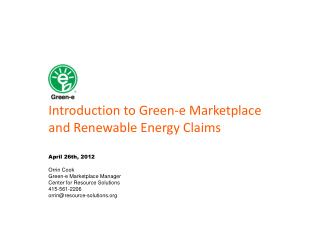 Introduction to Green-e Marketplace and Renewable Energy Claims