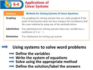 Using systems to solve word problems