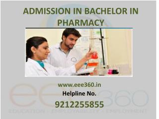 Admission in B.Pharma