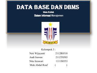 DATA BASE  dan DBMS Mata  Kuliah Sistem Informasi Manajemen