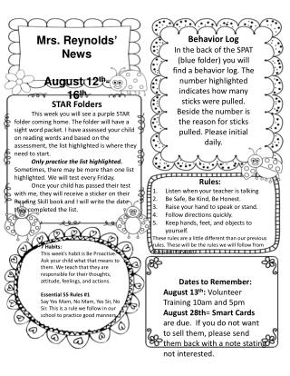 Mrs. Reynolds' News August 12 th -16 th