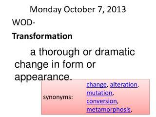 Monday October 7, 2013
