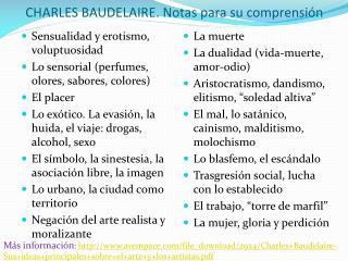 CHARLES BAUDELAIRE . Notas  para su comprensión