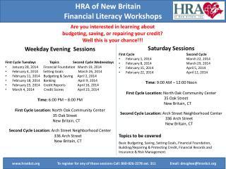 HRA of New  Britain Financial Literacy Workshops