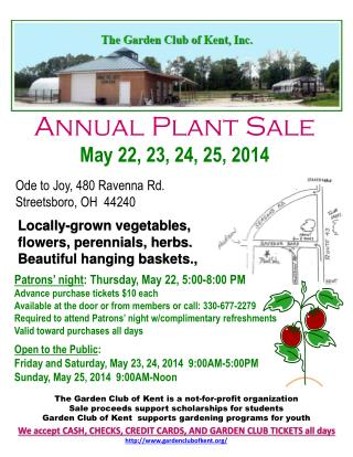 Annual Plant Sale May  22, 23, 24, 25, 2014