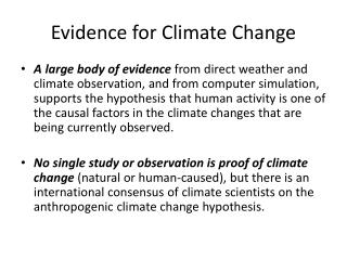 Evidence for Climate Change