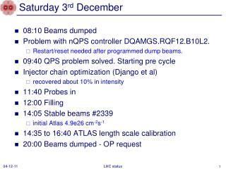 Saturday 3 rd  December