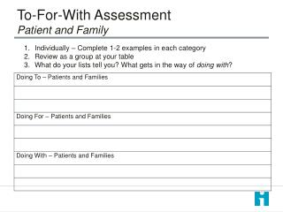 To-For-With Assessment  Patient and Family