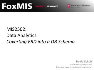MIS2502: Data Analytics Coverting  ERD into a DB Schema