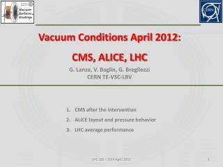 Vacuum Conditions April 2012: CMS, ALICE, LHC G.  Lanza , V. Baglin, G. Bregliozzi CERN TE-VSC-LBV