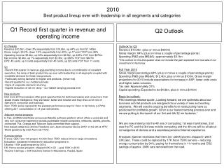 2010 Best product lineup ever with leadership in all segments and categories