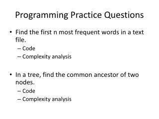 Programming Practice Questions