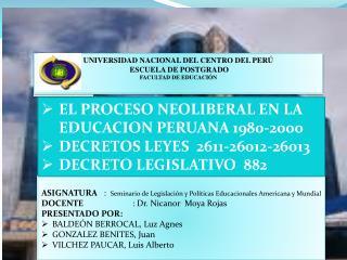 UNIVERSIDAD NACIONAL DEL CENTRO DEL PERÚ  ESCUELA DE POSTGRADO FACULTAD DE EDUCACIÓN