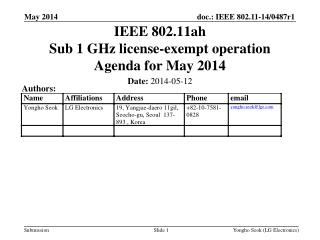 IEEE 802.11ah Sub 1 GHz license-exempt operation Agenda for May 2014