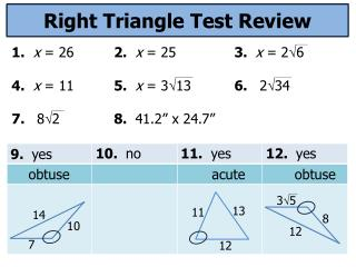 Right Triangle Test Review