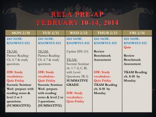 RELA Pre-AP February  10-14 ,  2014