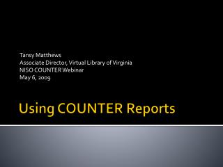Using COUNTER Reports