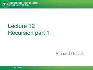 Lecture 12 Recursion part 1