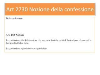 Art 2730 Nozione della confessione