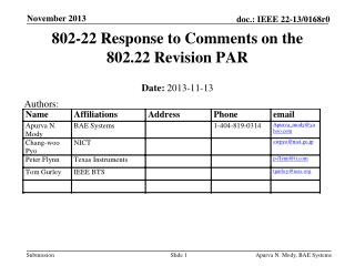 802-22 Response to Comments on the 802.22 Revision PAR