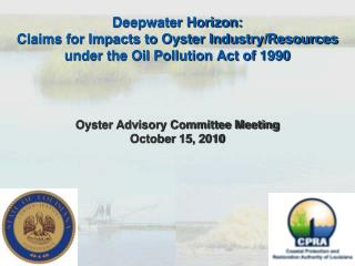 Oyster Advisory Committee Meeting October  15,  2010