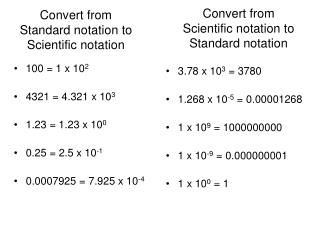 Convert from Standard notation to Scientific notation