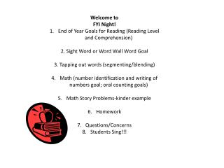 Welcome to  FYI Night! End of Year Goals for Reading (Reading Level and Comprehension)