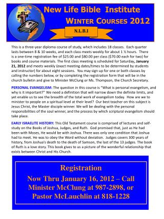 New  Life Bible  Institute Winter  Courses 2012