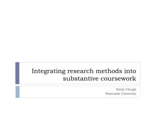 Integrating research methods into substantive coursework