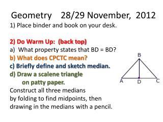 Geometry    28/29 November,  2012