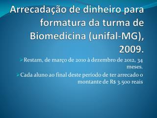 Arrecadação de dinheiro para formatura da turma de Biomedicina (unifal-MG), 2009.