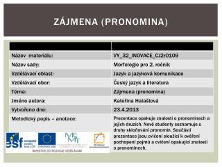 Zájmena ( pronomina )