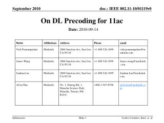 On DL  Precoding  for 11ac