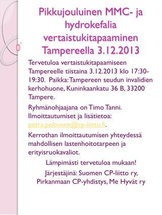 Pikkujouluinen MMC-  ja  hydrokefalia vertaistukitapaaminen  Tampereella  3.12.2013