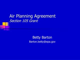 Air Planning Agreement Section 105 Grant
