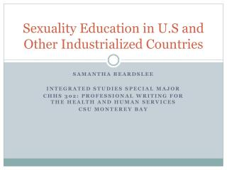 Sexuality  Education  in U. S and Other Industrialized Countries