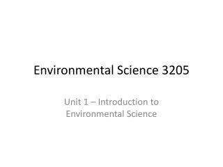 Environmental Science 3205
