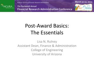 Post-Award Basics: The Essentials