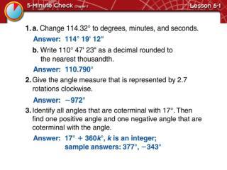 5-Minute Check Lesson 6-1A