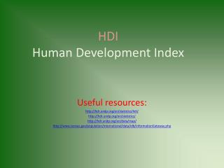 HDI Human Development Index