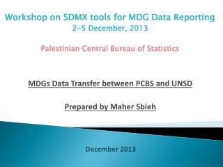 Workshop on SDMX tools for MDG Data Reporting  2-5 December, 2013